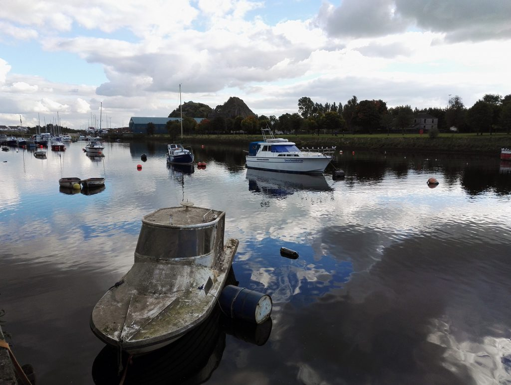Dumbarton, Scotland - the marina and the castle hill